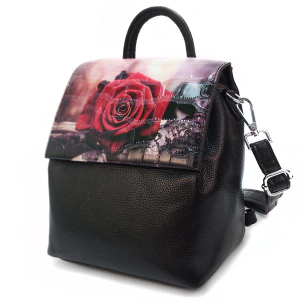 Женская сумка-рюкзак Borgo Antico. TH 0007 black rose