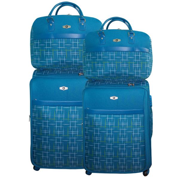 СКИДКА 900 руб.! Комплект чемоданов Borgo Antico. BA 6055 blue. 4 съёмных колеса.