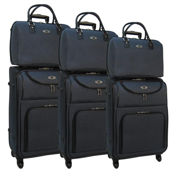 Комплект чемоданов Borgo Antico. 6088 dark blue. 4 съёмных колеса.