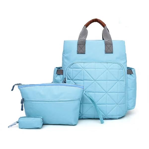 Сумка-рюкзак для мамы. 7758 l.blue