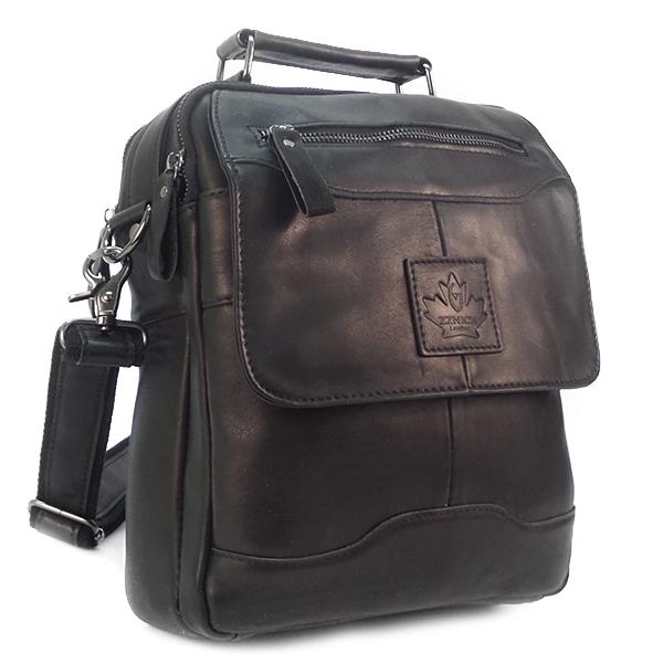СКИДКА. Мужская сумка Zznick. Кожа. 8806 black