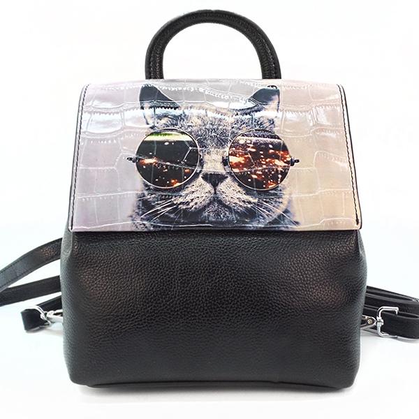 Женская сумка-рюкзак Borgo Antico. TH 0007 black cat