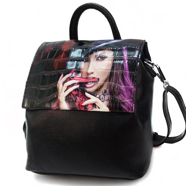 Женская сумка-рюкзак Borgo Antico. TH 0007 black girl