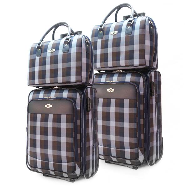 Комплект чемоданов Borgo Antico. 2093 blue-brown (2 колеса)