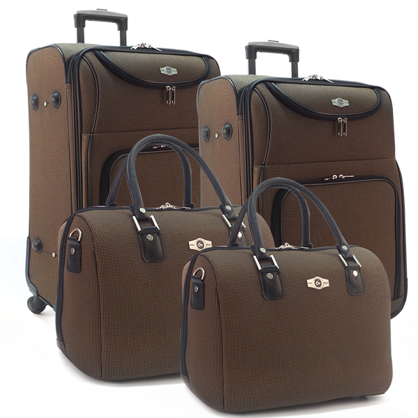 Комплект чемоданов Borgo Antico. 5088 black gold. 4 съёмных колеса.