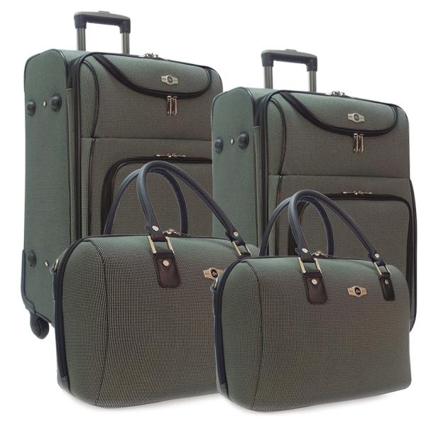 Комплект чемоданов Borgo Antico. 5088 green. 4 съёмных колеса.