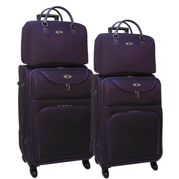 Комплект чемоданов Borgo Antico. 5088 purple. 4 съёмных колеса.