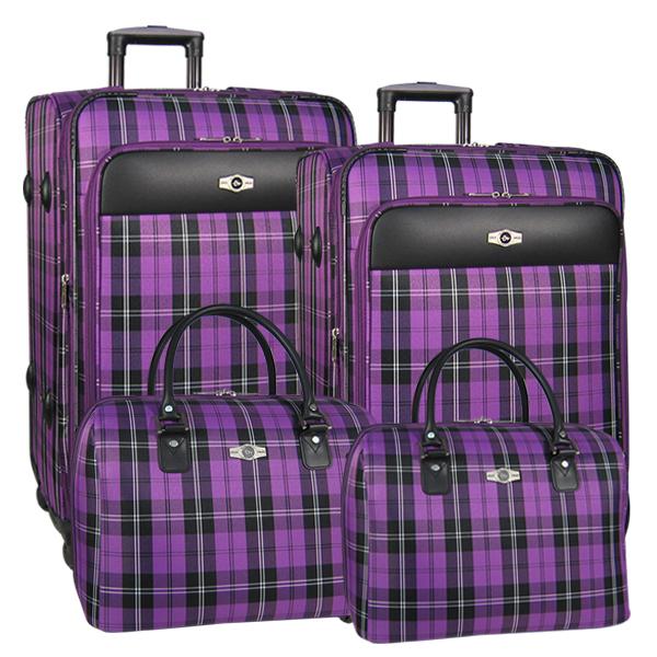 Комплект чемоданов Borgo Antico. 5093 purple komplekt. 4 съёмных колеса.