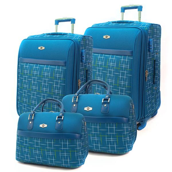 Комплект чемоданов Borgo Antico. BA 6055 blue. 4 съёмных колеса.