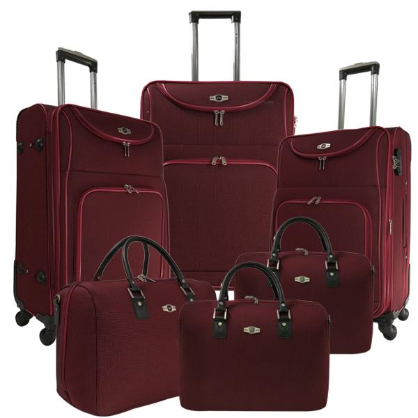 Комплект чемоданов Borgo Antico. 6088 burgundi. 4 съёмных колеса.