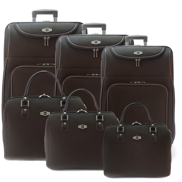 Комплект чемоданов Borgo Antico. 6088 coffee. 4 съёмных колеса.