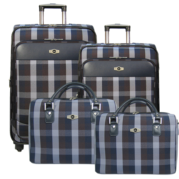 Комплект чемоданов Borgo Antico. 6093 (5093) blue-brown komplekt. 4 съёмных колеса.