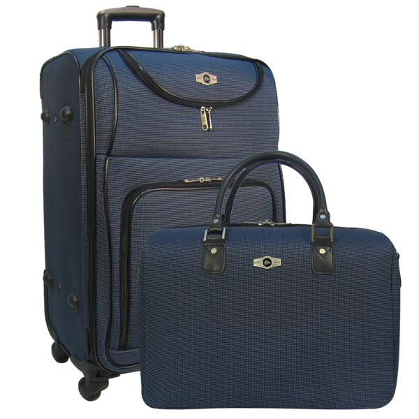 Набор: чемодан + сумочка Borgo Antico. 6088 dark blue 26/18