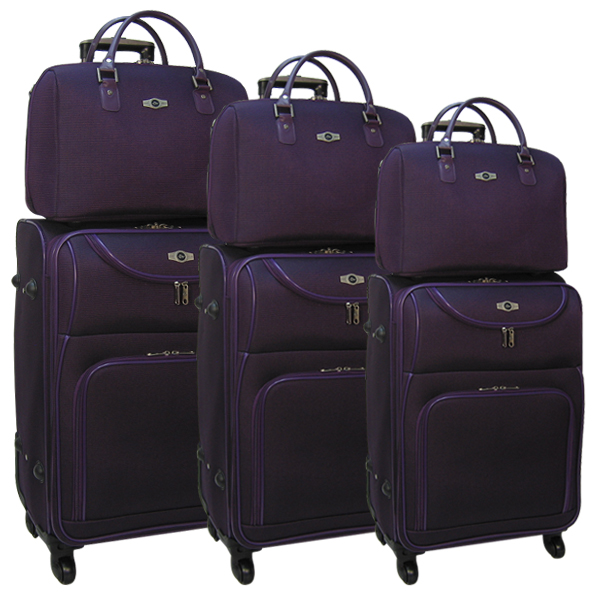 Комплект чемоданов Borgo Antico. 6088 purple komplekt. 4 съёмных колеса.