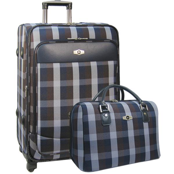 Набор: чемодан + сумочка Borgo Antico. 6093 blue-brown 26/18