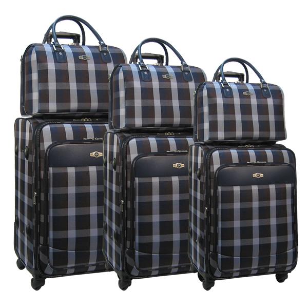 Комплект чемоданов Borgo Antico. 6093 blue-brown komplekt. 4 съёмных колеса.