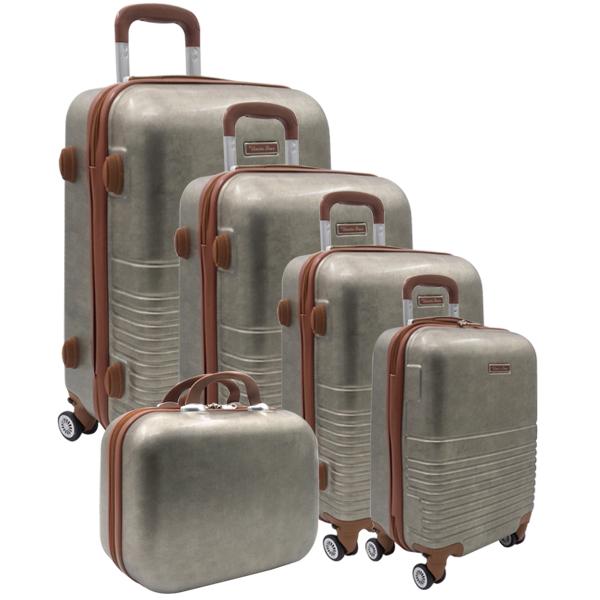 Комплект чемоданов. PC-8007-BW gold (4 съемных колеса)