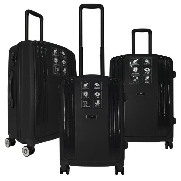 Комплект чемоданов Unite Star. PP 03 black (4 колеса)
