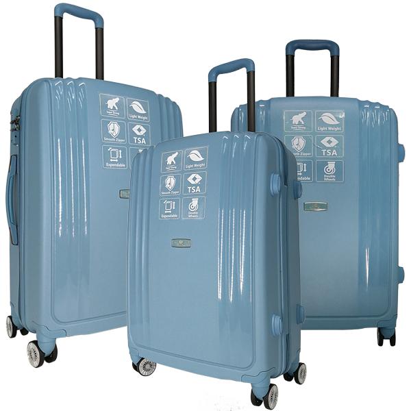 Комплект чемоданов Unite Star. PP 03 light blue (4 колеса)