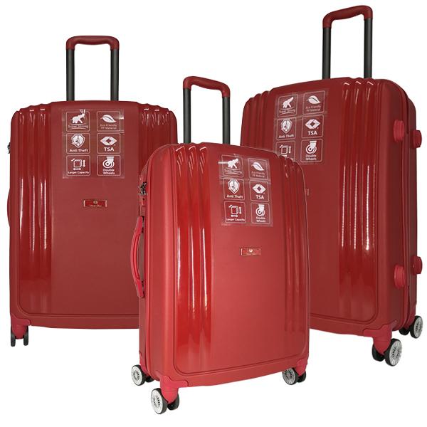 Комплект чемоданов Unite Star. PP 03 maroon (4 колеса)