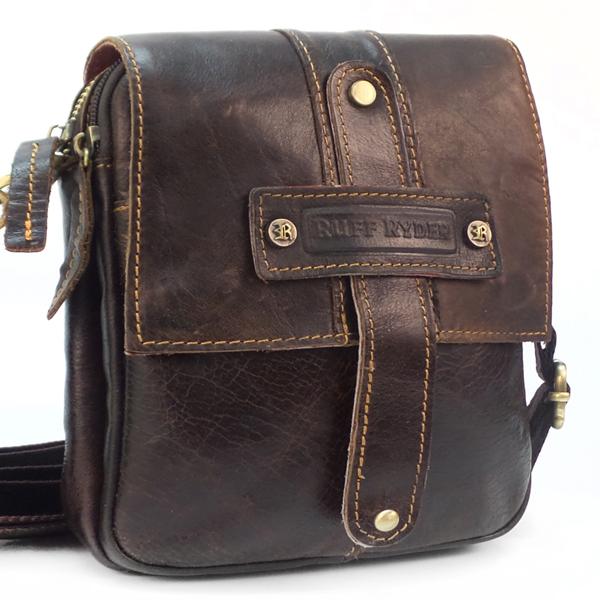 Мужская сумка Ruff Ryder. Кожа. 6306 brown