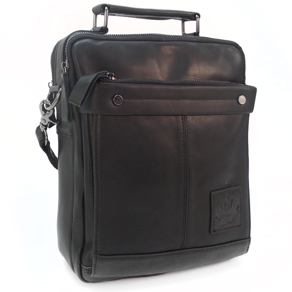 Мужская сумка Zznick. Кожа. 8801 black