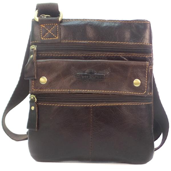 Мужская сумка Ruff Ryder. Кожа. 9012 d.brown