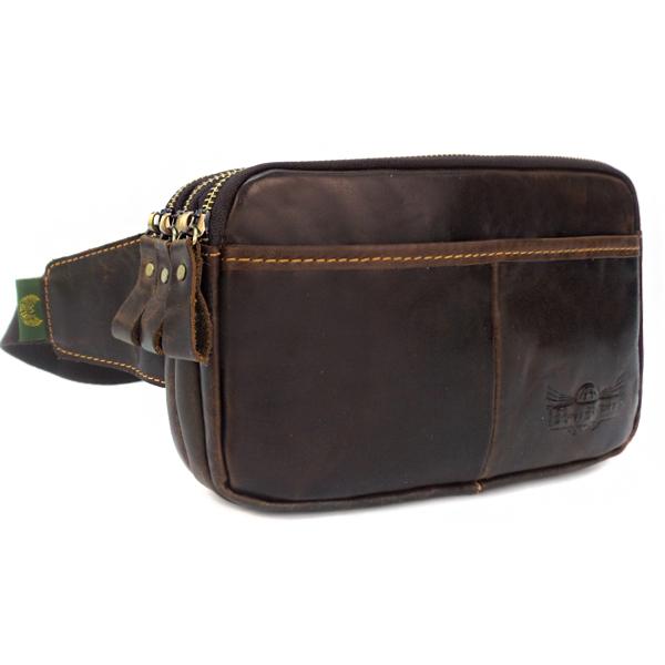 Мужская сумка Ruff Ryder. Кожа. 3428 d. brown