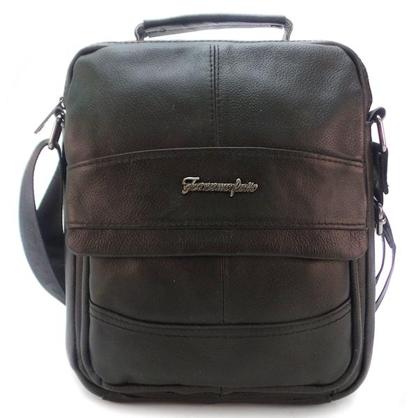 Мужская сумка Faramo Pollo. Кожа. 3636 black