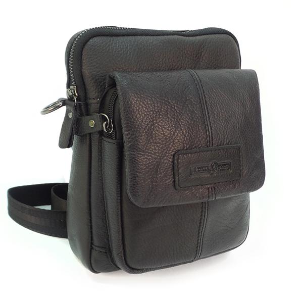 Мужская сумка Ruff Ryder. Кожа. 5351 black