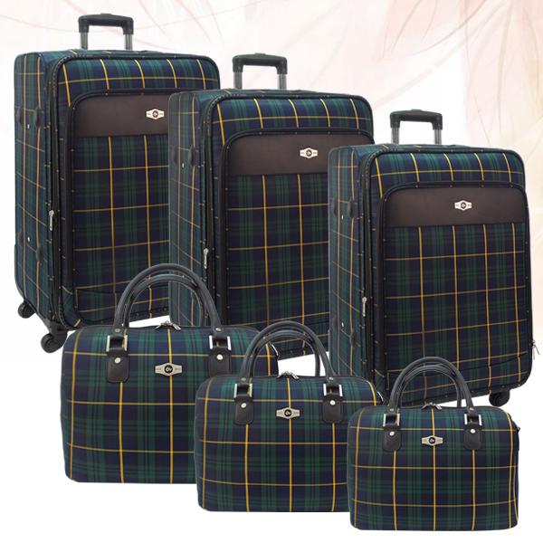 Клетчатые чемоданы со съемными колесами