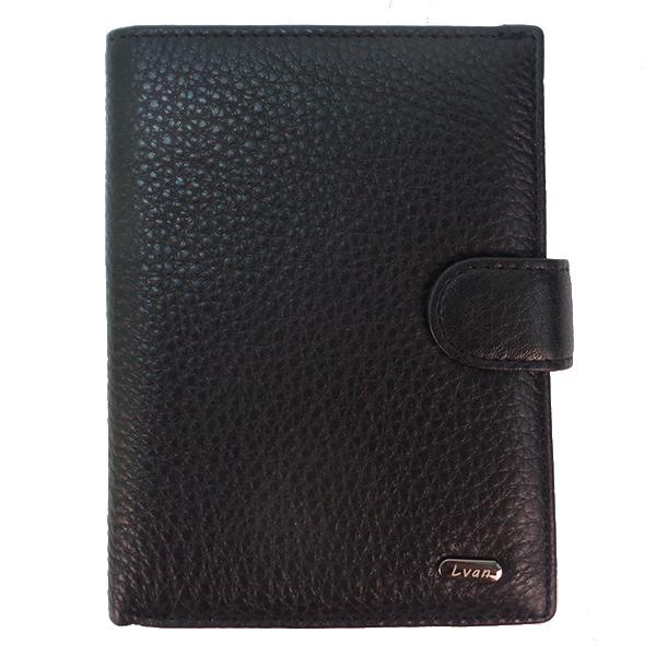 Кошелек + автодок. + обложка для паспорта Lvan. Кожа. 309-302 B-A black