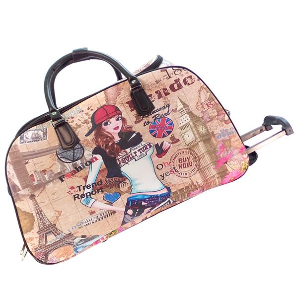 Дорожная сумка на колёсах Borgo Antico. 8114 beige girl
