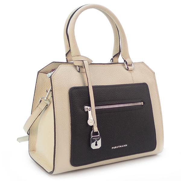 СКИДКА. Женская сумка BA Forstmann. Кожа. F-P 107 beige/black